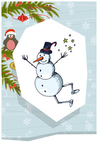 Vector Illustration With Snowman And Decorations (editable Text)