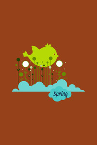 Vector Illustration With Spring Bird And  (editable Text)