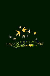 Vector Illustration With Spring Birds And  (editable Text)