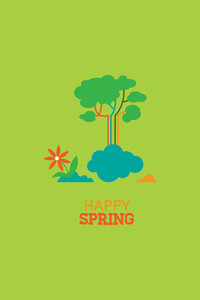 Vector Illustration With Spring Clouds And  (editable Text)