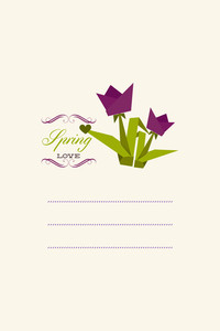 Vector Illustration With Spring Flowers And  (editable Text)