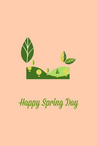 Vector Illustration With Spring Leafs And  (editable Text)