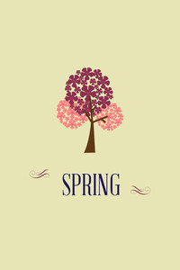 Vector Illustration With Spring Tree And  (editable Text)