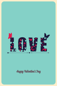 Vector Illustration With Text Heart Butterfly And (editable Text)