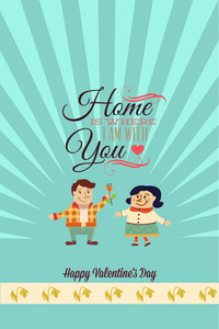 Vector Illustration With Text Heart People  And  (editable Text)