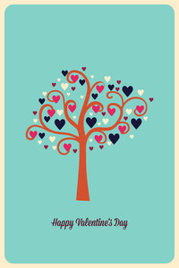 Vector Illustration With Tree Heart  And  (editable Text)