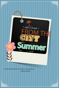 Vector Illustration With Typography And Summer Elements (editable Text)