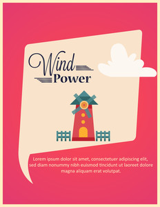 Vector Illustration With Windmill (editable Text)