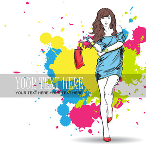 Vector Illustrtion Of A Fashion Girl On A Dirty Background.