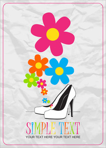 Vector Ilustration Of A High-heeled Shoes And Flowers.