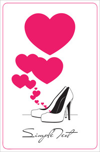 Vector Ilustration Of A High-heeled Shoes And Hearts.