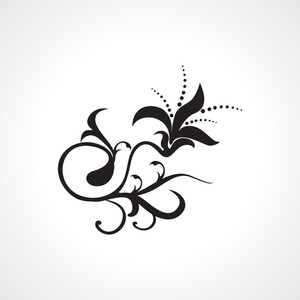 Vector Isolated Black Floral Tattoo
