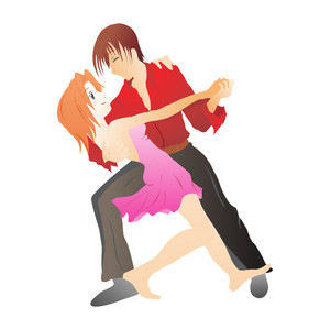 Vector Isolated Dancing Couple