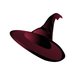 Vector Isolated Maroon Witch Hat