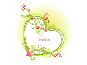 Vector Isolated Romantic Heart Frame