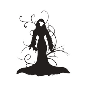 Vector Isolated Spooky Girl