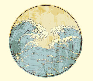 Vector Japanese Frame With Waves