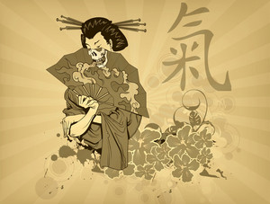 Vector Japanese T-shirt Design With Geisha