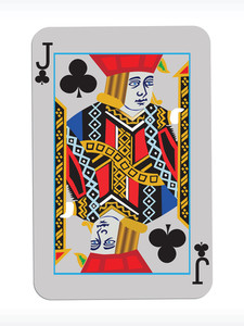 Vector Joker Of Clubs On Abstract Playing Card Background