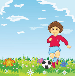 Vector Kid Playing Soccer