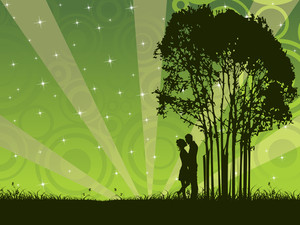 Vector Kissing Couple Under The Tree
