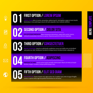 Vector Layout With Five Black And Purple Horizontal Options On Bright Yellow Background. Eps10
