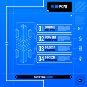 Vector Layout With Four Numbered Options And Abstract Isometric Object In Blueprint Style. Eps10