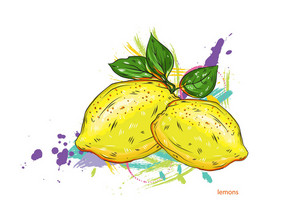 Vector Lemons With Colorful Splashes