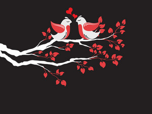 Vector Love Birds On Branch