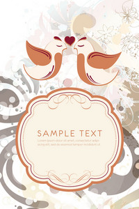 Vector Love Birds With Frame For Text