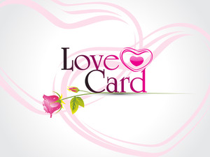 Vector Love Card With Pink Rose