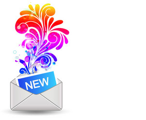 Vector Mail Icon With Colorful Floral