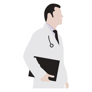 Vector Male Doctor Silhouette On Background