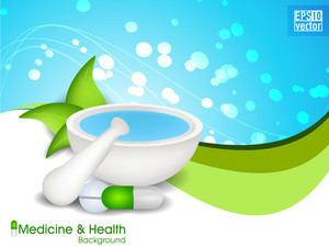 Vector Medical Health Background With Mortar And Pestle With Capsule