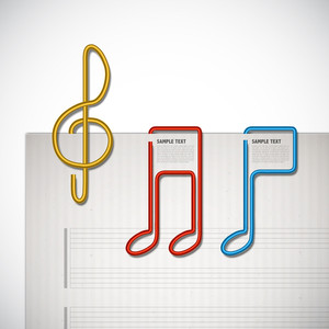 Vector Melody Shaped Paper Clip