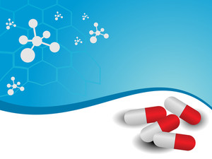 Vector Molecule Medical Background With Capsules