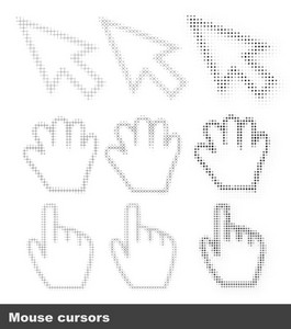 Vector Mouse Cursors Set Made Of Halftone