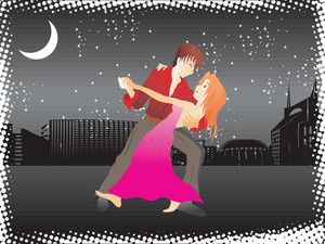 Vector Music City Night Background And Tango Dancer Couple_2