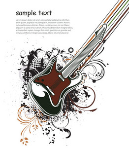 Vector Music Illustration With Guitar