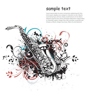 Vector Music Illustration With Saxophone