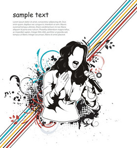 Vector Music Illustration With Singer