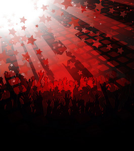 Vector Music Poster With Crowd