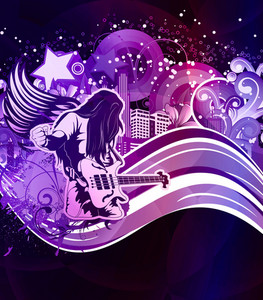 Vector Music Poster With Guitar Player