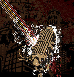 Vector Music Poster With Microphone