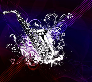 Vector Music Poster With Saxophone