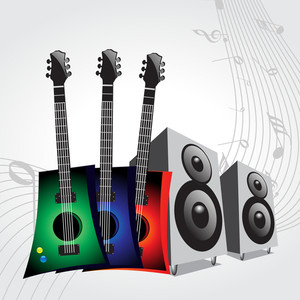 Vector musical background with colorful electronics guitar and loud speakers