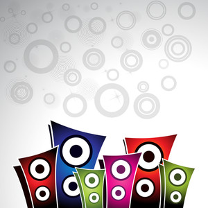 Vector musical background with colorful loud speakers on abstract grey background