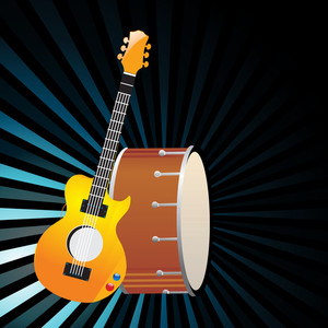 Vector musical background with guitar and musical drum