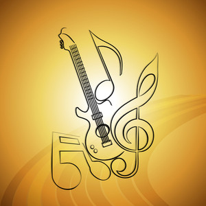 Vector musical background with guitar and musical notes