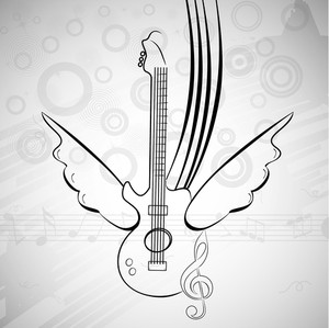 Vector musical background with guitar and wings